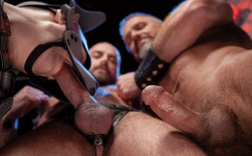 Dirk Caber & Jessie Colter Dominate Leather Pup Tyler Rush 2